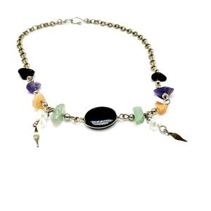 Handmade onyx and natural stone silver anklet